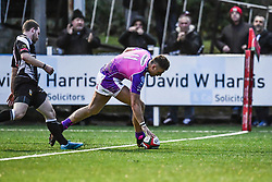 Pontypridd's Lewis Williams scores his sides fifth try - Mandatory by-line: Craig Thomas/Replay images - 30/12/2017 - RUGBY - Sardis Road - Pontypridd, Wales - Pontypridd v Bedwas - Principality Premiership