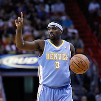 19 March 2011: Denver Nuggets point guard Ty Lawson (3) calls a play during the Miami Heat 103-98 victory over the Denver Nuggets at the AmericanAirlines Arena, Miami, Florida, USA.