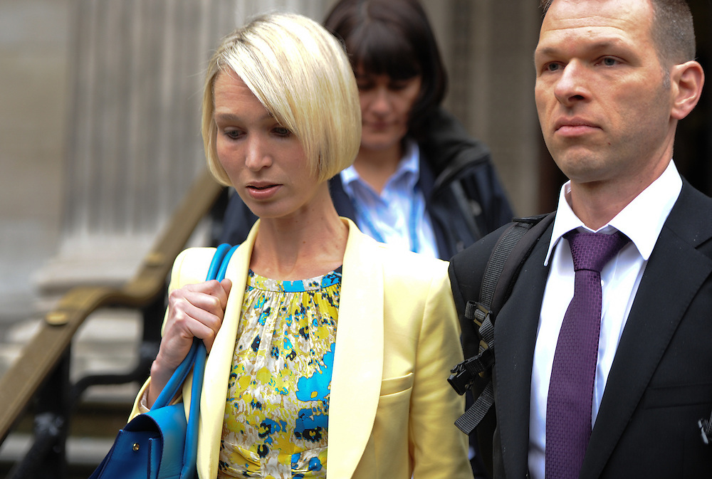 Ceri Subbe sister  of MI5 worker  Gareth Williams leaves her  brothers  inquest in Marylebone on April 23rd 2012...Photo Ki Price.