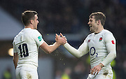 Twickenham, United Kingdom.  left George Ford is congratulated by right Elliot DALY after scoring his second half try durint the Old Mutual Wealth Series match: England vs South Africa RFU Stadium, Twickenham, England, Saturday, 12.11.2016<br /><br />[Mandatory Credit; Peter Spurrier/Intersport-images]