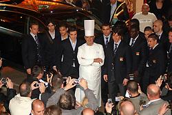 Collonges au Mont d'Or (69) 16/03/06 Presentation de la nouvelle Audi Q7 a l'Abbaye de Collonges ( l'autre restaurant de Paul Bocuse, juste a cote du 3 etoiles), en compagnie de l'equipe de foot de l'Olympique Lyonnais dont le gardien de but Gregory Coupet a sa gauche. High cuisine chef Paul Bose died at 91 it was announced on Saturday. Photo by Soudan/ANDBZ/ABACAPRESS.COM