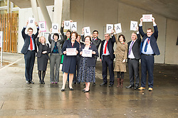 Pictured: Kezia Dugdale and Jackie Baillie lead the way<br /> <br /> Scottish Labour MSPs including leader Kezia Dugdale and Jackie Ballie gathered outside the Scottish Parliament in Edinburgh to mark Equal Pay Day, the day that women effectively stop earning relative to men for the year.  <br /> <br /> Ger Harley | EEm 10 November 2016
