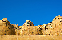 "JAISALMER, INDIA - CIRCA NOVEMBER 2018: View Jaisalmer Fort.  Jaisalmer is also called ""The Golden City, and it is located in Rajasthan. The town stands on a ridge of yellowish sandstone, and is crowned by the ancient Jaisalmer Fort."