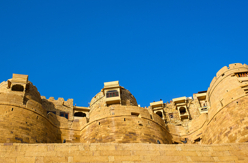 """JAISALMER, INDIA - CIRCA NOVEMBER 2018: View Jaisalmer Fort.  Jaisalmer is also called """"The Golden City, and it is located in Rajasthan. The town stands on a ridge of yellowish sandstone, and is crowned by the ancient Jaisalmer Fort."""