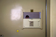 "A view of a male prisoner through the peephole window of a cell door in the Healthcare Wing of HMP Pentonville, London, UK. An offender has written ""Happy Birthday To Me"" on the white wall in the cell.   HM Prison Pentonville is an English Category B men's prison, operated by Her Majesty's Prison Service. Pentonville Prison is located on  Caledonian Road in the Barnsbury area of the London Borough of Islington, north London, United Kingdom. (Photo by Andy Aitchison)"