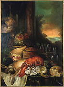 Still life with Lobster. Oil on canvas. Anonymous French School. Arrangement of bread, shellfish, game, artichoke, fruit, wine and glass.
