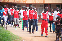 """U.K. soccer club Arsenal and the Rwandan Development Board announced a sponsorship deal in late May 2018 which will see """"Visit Rwanda"""" printed on the sleeves of the Arsenal kit for the next 3 seasons at a cost to the Rwanda Development board of £10million per season. It is  intended to promote tourism to Rwanda. Pictured here Arsenal supporters in Kigali, May 28th, 2018"""