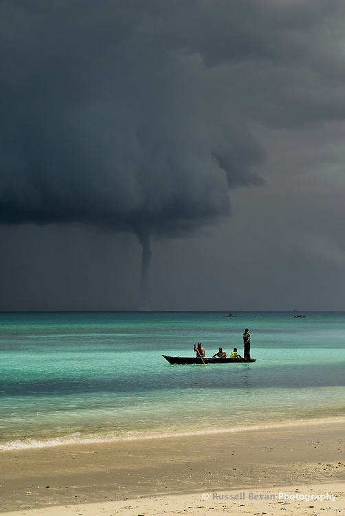 Water spout off the coast of Zanzibar during a storm