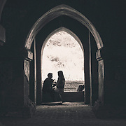 Couple in the door of a Bagan temple