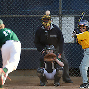 A young batter watches the pitch during the Norwalk Little League baseball competition at Broad River Fields, Norwalk, Connecticut. USA. Photo Tim Clayton