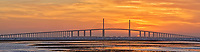 Sun rising under the Sunshine Skyway bridge from Fort De Soto Park. Composite of 9 images taken with a Fuji X-H1 camera and 200 mm f/2 OIS lens with a 1.4x teleconverter (ISO 400, 280 mm, f/16, 1/80 sec). Raw images processed with Capture One Pro and AutoPano Giga Pro.