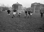 Irish Rugby Football Union, Ireland v Scotland, Five Nations, Ireland and Scotland practice at College Park, Dublin, Ireland, Friday 24th February, 1956,.24.2.1956, 2.24.1956,..Referee- H B Elliott, Rugby Football Union,..Score- Ireland 14 - 10 Scotland, ..P J Berkery, Wearing number 15 Irish jersey, Full back, Landsdowne Rugby Football Club, Dublin, Ireland,..W J Hewitt, Wearing number 14 Irish jersey, Right Wing, Instonians Rugby Football Club, Belfast, Northern Ireland,..N J Henderson, Wearing number 13 Irish jersey, Captain of the Irish team, Right centre, N.I.F.C, Rugby Football Club, Belfast, Northern Ireland,..A J O'Reilly, Wearing number 12 Irish jersey, Left Centre, Old Belvedere Rugby Football Club, Dublin, Ireland,  ..A C Pedlow, Wearing number 11 Irish jersey, Left Wing, Queens University Rugby Football Club, Belfast, Northern Ireland,..J W Kyle, Wearing number 10 Irish jersey, Outside Half, N.I.F.C, Rugby Football Club, Belfast, Northern Ireland,..J A O'Meara, Wearing number 9 Irish jersey, Scrum Half, Dolphin Rugby Football Club, Cork, Ireland, ..W B Fagan, Wearing number 1 Irish jersey, Forward, Wanderers Rugby Football Club, Dublin, Ireland, and, Moseley Rugby Football Club, Birmingham, England, ..R Roe, Wearing number 2 Irish jersey, Forward, London Irish Rugby Football Club, Surrey, England, and, Landsdowne Rugby Football Club, Dublin, Ireland,..B G Wood, Wearing number 3 Irish jersey, Forward, Garryowen Rugby Football Club, Limerick, Ireland, ..B N Guerin, Wearing  Number 4 Irish jersey, Forward, Bective Rangers Rugby Football Club, Dublin, Ireland, and, Galwegians Rugby Football Club, Galway, Ireland, ..L M Lynch, Wearing number 5 Irish jersey, Forward, Landsdowne Rugby Football Club, Dublin, Ireland, ..C T J Lydon, Wearing  Number 6 Irish jersey, Forward, Galwegians Rugby Football Club, Galway, Ireland, and, Monkstown Rugby Football Club, Dublin, Ireland, ..J R Kavanagh, Wearing number 7 Irish jersey, Forward, Wanderers Rugby Football Club, Dubl