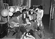"""30/03/1963<br /> 03/30/1963<br /> 30 March 1963<br /> Schools Drama Festival at The Gate Theatre, Dublin.<br /> Picture shows pupils of Colaiste Chriost Ri Corcaigh who presented the drama """"Na Cruitbuchain? at the Gate Theatre, Dublin."""