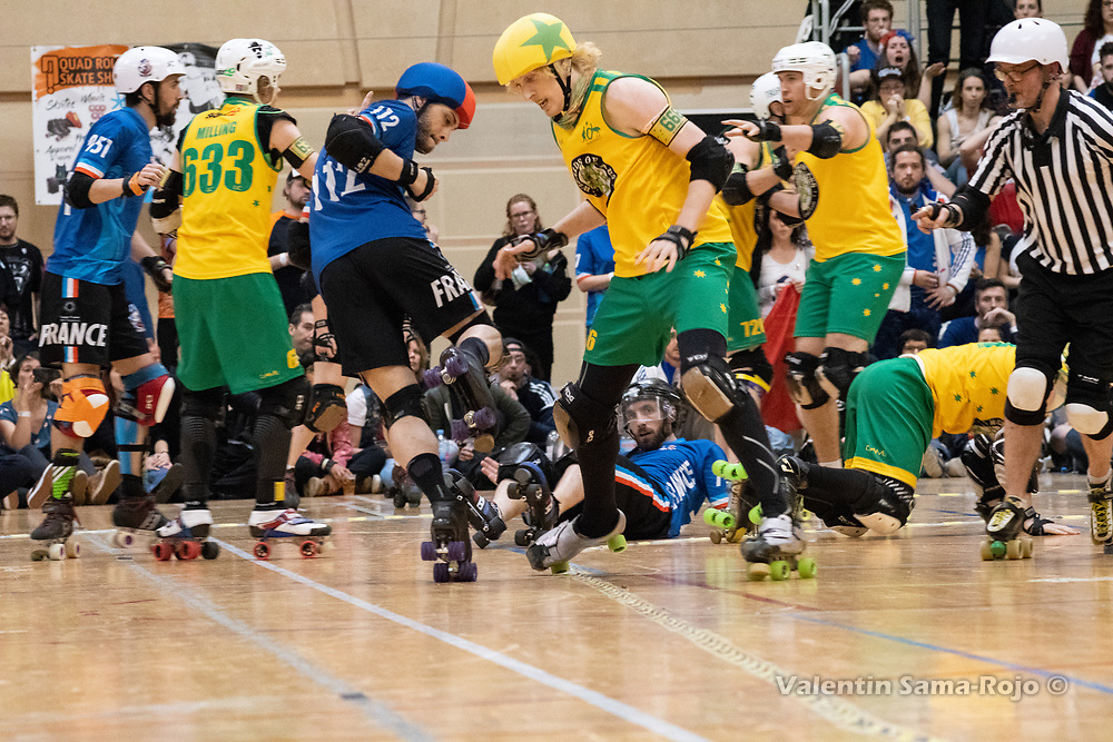 Australia beats France 189 - 186 during the Men's Roller Derby World Cup 2018 in Barcelona, Spain