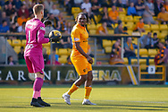 Dolly Menga of Livingston keeps close to St Mirren Keeper Vaclav Hladky of St Mirren during the Ladbrokes Scottish Premiership match between Livingston and St Mirren at Tony Macaroni Arena, Livingstone, Scotland on 20 April 2019.