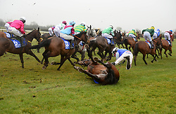 Jockey Bryan Cooper on board Kemboy fall at the first hurdle, both are ok afterwards, in the Boylsports Irish Grand National Chase, during BoyleSports Irish Grand National Day of the 2018 Easter Festival at Fairyhouse Racecourse, Ratoath, Co. Meath.