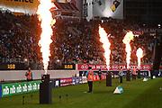 Stadium pyrotechincs.<br /> Blues v Highlanders, Sky Super Rugby Trans-Tasman Final. Eden Park, Auckland. New Zealand. Saturday 19 June 2021. © Copyright Photo: Andrew Cornaga / www.photosport.nz