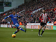 Danny Lafferty of Sheffield Utd crosses the ball during the English League One match at Bramall Lane Stadium, Sheffield. Picture date: December 26th, 2016. Pic Simon Bellis/Sportimage