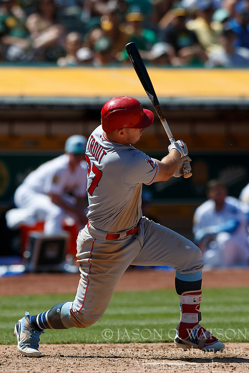 OAKLAND, CA - JUNE 17: Mike Trout #27 of the Los Angeles Angels of Anaheim at bat against the Oakland Athletics during the ninth inning at the Oakland Coliseum on June 17, 2018 in Oakland, California. The Oakland Athletics defeated the Los Angeles Angels of Anaheim 6-5 in 11 innings. (Photo by Jason O. Watson/Getty Images) *** Local Caption *** Mike Trout