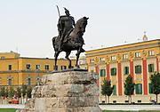 Statue of Gjergj Kastrioti, known as Skanderberg, who united the Albanian clans against the Ottomans. Skanderberg Square, Tirana, Albania. 02Sep15