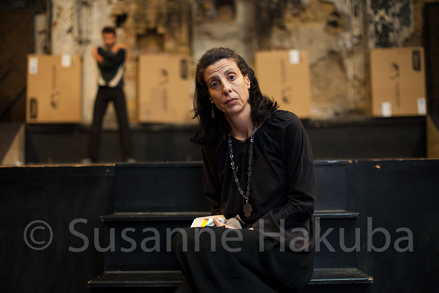 """Leila Toubel. Playwright, actress, comedian and director at El Hamra Theatre, Tunis, Tunisia. Her credo is """"To create is to resist. To resist is to create."""" by S. Hessel. Her main goal is to show honest and brave theatre which addresses current issues and which speaks to all Tunisians. Before and since the revolution she has managed to show true theatre despite ongoing attempts to censor the arts."""