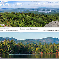 """New! Squam Lake Bookmark.  Includes two images, double sided. View from Mt Morgan, and view from Squam Lake. Measures 7x2""""."""