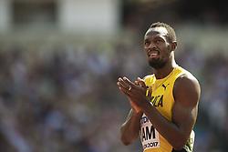 August 12, 2017 - London, STORBRITANNIEN - 170812 Jamaicas Usain Bolt infÅ¡r kvalet pÅ' stafetten 4x100 meter under dag nio av friidrotts-VM den 12 augusti 2017 i London  (Credit Image: © Joel Marklund/Bildbyran via ZUMA Wire)