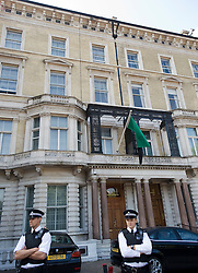 """© licensed to London News Pictures.  28/07/2011. London, UK. Police stand outside the Libyan Embassy on Knightsbride, London today (28/07/2011). The British Foreign Minister, William Hague, yesterday announced that the British Government would recognise the Libyan rebel council as the """"sole governmental authority"""", and expel Gaddafi-regime diplomats. Photo credit: Ben Cawthra/LNP"""