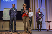 Purchase, NY – 31 October 2014. The team from Yonkers Montessori Academy giving their presentation. (Left to right: Edward Ortiz, Naira Luke-Aleman, Tyena Garcia, Chinnu Thomas.) The Business Skills Olympics was founded by the African American Men of Westchester, is sponsored and facilitated by Morgan Stanley, and is open to high school teams in Westchester County.
