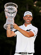 19 JUL 15  Scott Piercy holds the Champions Trophy on 18 at the conclusion of Sunday's Final Round of The Barbasol Championship at The Robert Trent Jones Golf Trail in Opelika, Alabama. (photo credit : kenneth e. dennis/kendennisphoto.com)