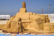 Israel, Haifa, Sand sculpture festival on the Haifa beach, August 2006