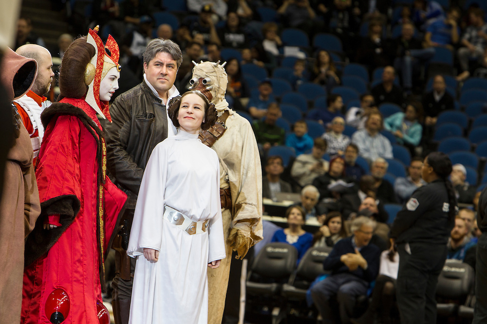 Members of the 501st Legion Central Garrison make an appearance at Star Wars night at the Timberwolves game at Target Center in Minneapolis December 15, 2015.