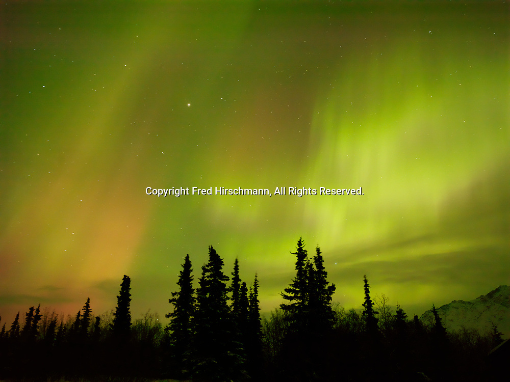 Green and red auroras during St. Patrick's Day Geomagnetic Storm, early morning hours of March 17, 2015, Glacier View, Alaska.