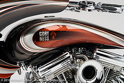 Side-by-side twin-engined custom motorcycle built by Cory Ness of Arlen Ness Motorcycles, Dublin, CA. Photographed by Michael Lichter during the Easyriders Bike Show in Sacramento, CA on January 8, 2016. ©2016 Michael Lichter.