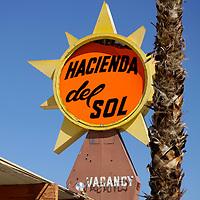 USA, California. The abandoned Hacienda del Sol in Borrego Springs.