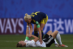 June 29, 2019 - Rennes, France - Caroline Seger (FC Rosengard) of Sweden consoles Alexandra Popp of Germany following Germany's defeat in during the 2019 FIFA Women's World Cup France Quarter Final match between Germany and Sweden at Roazhon Park on June 29, 2019 in Rennes, France. (Credit Image: © Jose Breton/NurPhoto via ZUMA Press)