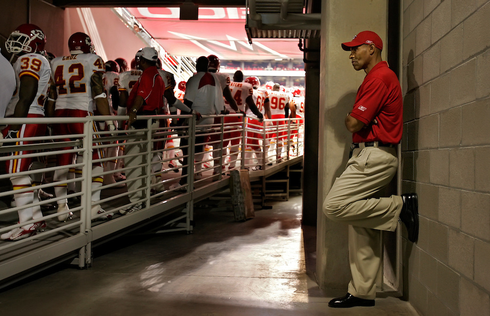 Kansas City Chiefs head coach Herm Edwards waited in the tunnel for his team to be introduced against the Arizona Cardinals on October 8, 2006 at the University of Phoenix Stadium in Glendale, AZ.