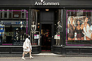 Mannequins in underwear and social distancing signs in the window of Ann Summers shop in Soho as the national coronavirus lockdown eases on 25th May 2021 in London, United Kingdom.