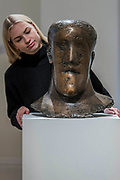 Dame Elisabeth Frink, Head, bronze, circa 1968 (est. £80,000-120,000) - Modern and Post-War British & Scottish Art at Sothebys New Bond Street. The sale will take place between 21 – 22 November.