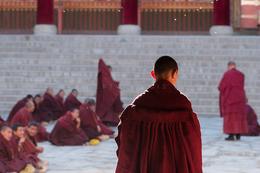 Monks gathering for a ceremony at Labrang Monastery, Xiahe, Gansu, China