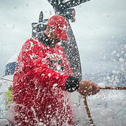 Leg 4, Melbourne to Hong Kong, day 06 on board MAPFRE, Guillermo Altadill holding the main sheet during one of the storms of today. Photo by Ugo Fonolla/Volvo Ocean Race. 06 January, 2018.