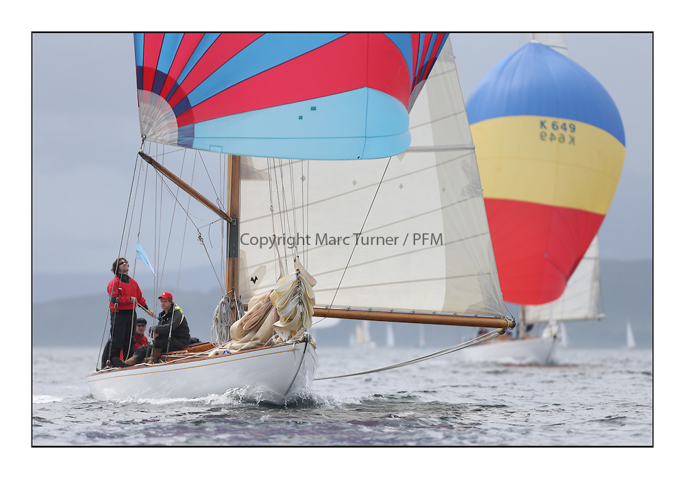 Day one of the Fife Regatta, Round Cumbraes Race.<br /> <br /> Mikado, Sir Micheal Briggs, GBR Burmudian Cutter, Wm Fife 3rd, 1904<br /> <br /> * The William Fife designed Yachts return to the birthplace of these historic yachts, the Scotland's pre-eminent yacht designer and builder for the 4th Fife Regatta on the Clyde 28th June–5th July 2013<br /> <br /> More information is available on the website: www.fiferegatta.com