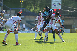 Adebayo Akinfenwa of Wycombe Wanderers puts the pressure on the Stevenage defence - Mandatory by-line: Jason Brown/JMP - 05/05/2018 - FOOTBALL - Adam's Park - High Wycombe, England - Wycombe Wanderers v Stevenage - Sky Bet League Two
