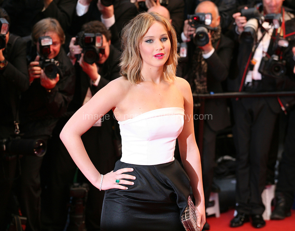 Actress Jennifer Lawrence at the red carpet for the gala screening of Jimmy P. Psychotherapy of a Plains Indian film at the Cannes Film Festival 18th May 2013