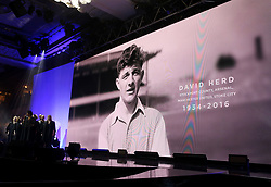 A tribute to David Herd on the big screen during the Professional Footballers' Association Awards 2017 at the Grosvenor House Hotel, London