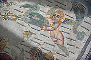 Cupids & dolphin Roman mosaic, room 24, at the Villa Romana del Casale, Sicily ,  circa the first quarter of the 4th century AD. Sicily, Italy. A UNESCO World Heritage Site. .<br /> <br /> If you prefer to buy from our ALAMY PHOTO LIBRARY  Collection visit : https://www.alamy.com/portfolio/paul-williams-funkystock/villaromanadelcasale.html<br /> Visit our ROMAN MOSAIC PHOTO COLLECTIONS for more photos to buy as buy as wall art prints https://funkystock.photoshelter.com/gallery/Roman-Mosaics-Roman-Mosaic-Pictures-Photos-and-Images-Fotos/G00008dLtP71H_yc/C0000q_tZnliJD08