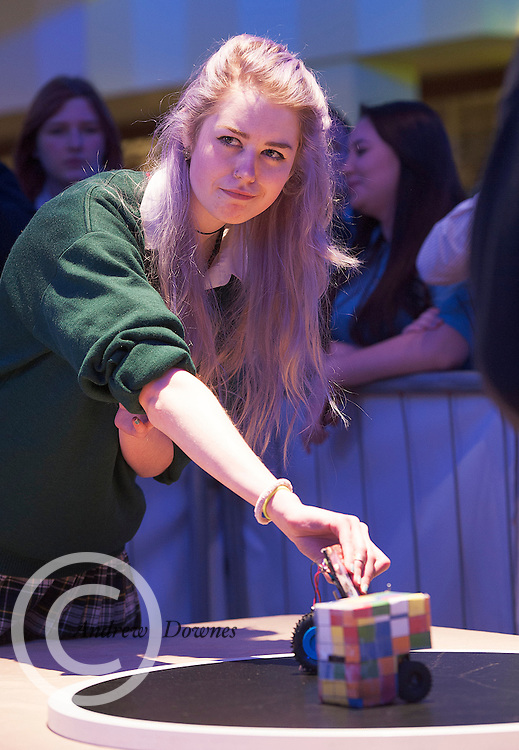 01/05/2015  Lizzy Bennett from St Leo's Carlow competing with her robot at the Irish Robotics Championship where over 450 second level students competed for the coveted trophy supported by  EA Games. Photo:Andrew Downes: XPOSURE