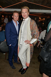 Left to right, GUY PELLY and HENRY CONWAY at the launch of Geisha at Ramusake hosted by Piers Adam and Marc Burton at Ramusake, 92B Old Brompton Road, London on 11th June 2015.