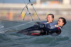 Annemiek Bekkering and Annette Duetz training in Scheveningen in their 49er FX. Annemiek Bekkering en Annette Duetz will represent the Netherlands in the 2020 Olympics in Japan. 24 October 2019.