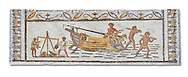 Late 4th century AD Roman mosaic depiction a harbour scene with men unloading and weighing goods. From Cathage, Tunisia.  The Bardo Museum, Tunis, Tunisia. .<br /> <br /> If you prefer to buy from our ALAMY PHOTO LIBRARY  Collection visit : https://www.alamy.com/portfolio/paul-williams-funkystock/roman-mosaic.html - Type -   Bardo    - into the LOWER SEARCH WITHIN GALLERY box. Refine search by adding background colour, place, museum etc<br /> <br /> Visit our ROMAN MOSAIC PHOTO COLLECTIONS for more photos to download  as wall art prints https://funkystock.photoshelter.com/gallery-collection/Roman-Mosaics-Art-Pictures-Images/C0000LcfNel7FpLI